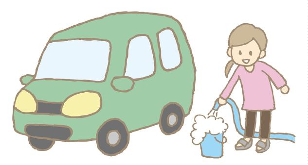 Car wash: Soak in shampoo solution and foam