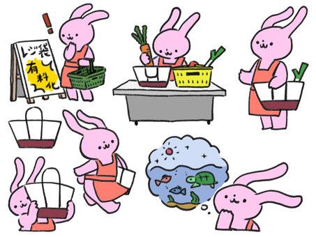 Rabbits using eco bags
