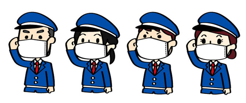 Security guard illustration set wearing a mask