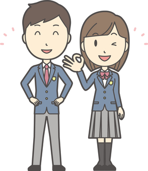 High school student male and female set -008-whole body