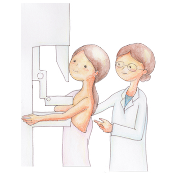 A woman undergoing mammography