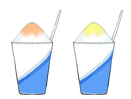 Handwritten wind shaved ice (orange · lemon)