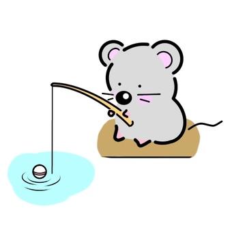 낚시를하는 쥐