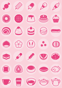 Confectionery / Japanese sweets / cafe etc. Icon set