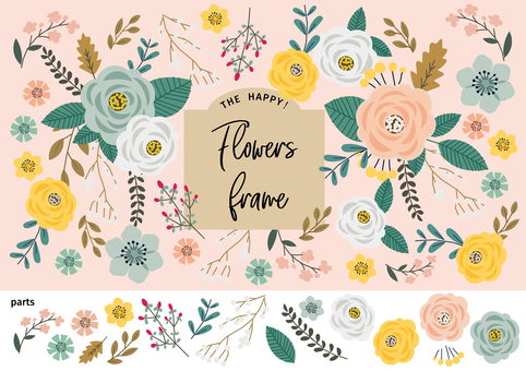 Cute floral background Handwritten illustration material