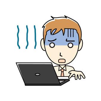 ブログ向け-PCと茶髪男性 青ざめる