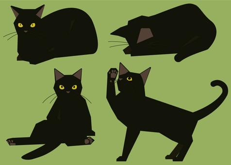 黒猫のイラスト4種