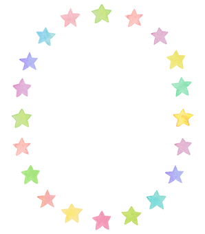 Water color star circle frame 3