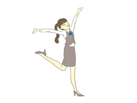 A woman expressing joy