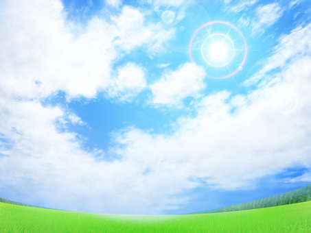 Blue sky flare on the lawn Background / Wallpaper / Frame