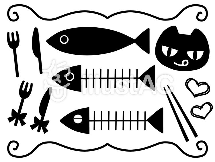 お魚とネコ_01のイラスト