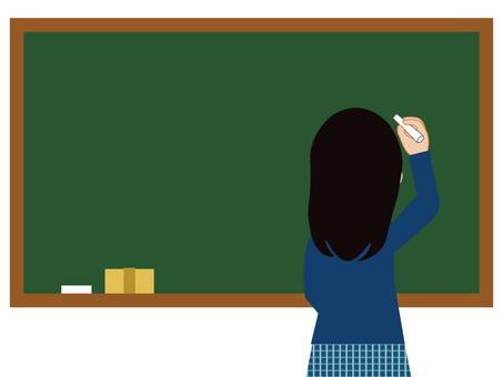 黒板と学生(黒板がフレームタイプ)