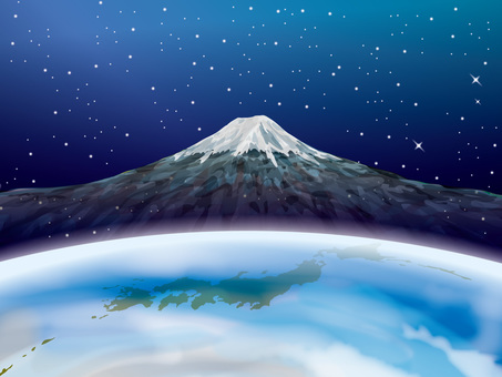 Image of Earth and Japan Map and Mt. Fuji