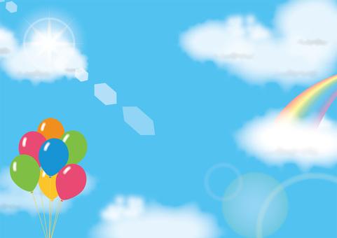 Rainbow and balloons