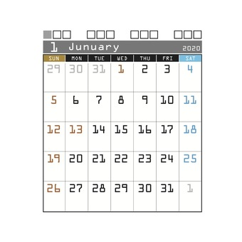 2020 calendar techno January