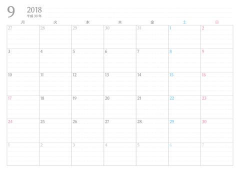書き込みカレンダー月始まり2018年9月