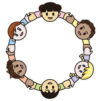 Children connecting hands