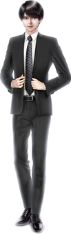 Aesthetic male model standing in black suit