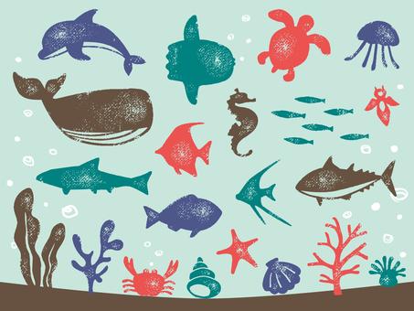 海の生き物 スタンプ