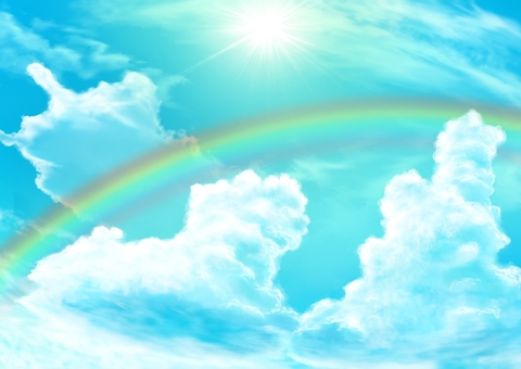 Sky, clouds and rainbow