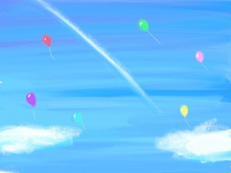 Airplane clouds and balloons