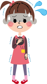 Children girls cold uneasiness fear strained whole body