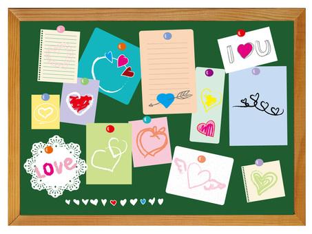 Heart's note on the blackboard