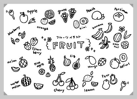 Fruit and fruit illustration set (monochrome)