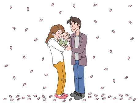 A cherry blossom petal and a young couple