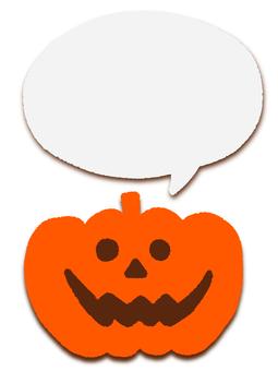 Halloween pumpkin & plain speech bubble