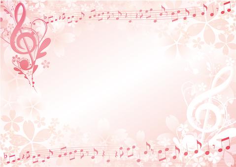 Elegant notes and cherry blossom horizontally