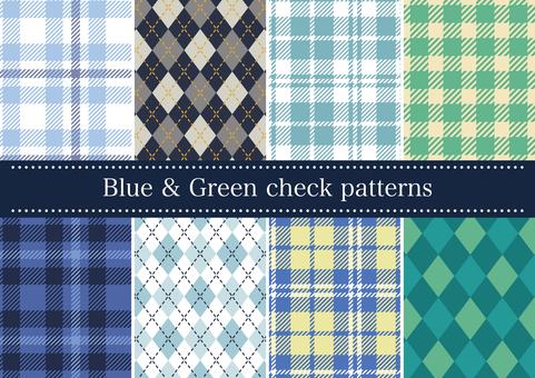 블루 & 그린 계열 체크 패턴