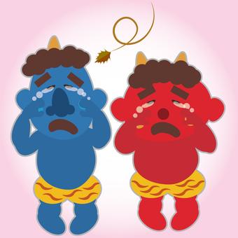 Crying blue demon and red demon