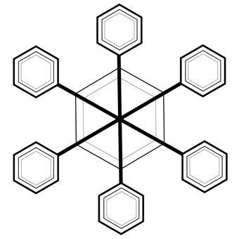 Snow crystal (black line)