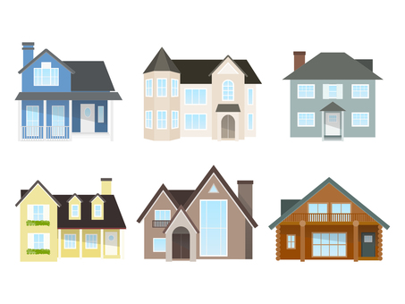 Western-style house illustration set