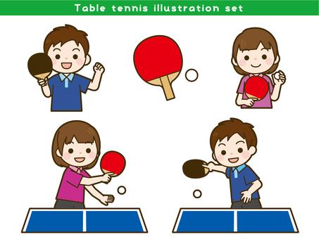 Table tennis illustration set
