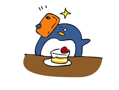 Penguin taking selfie with cake