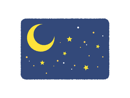 Crescent moon and starry sky