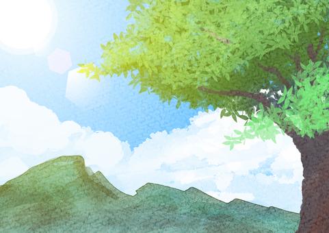 Watercolor Blue Sky Tree Mountain Light
