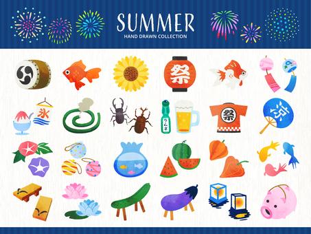 夏とお盆祭りの手描き風イラストセット