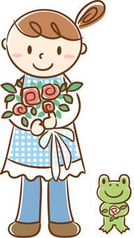 꽃다발 소녀와 개구리