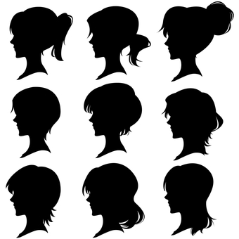 Women Hairstyle Side Face Silhouette Set