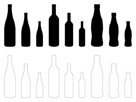 Design bottle silhouette and line