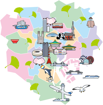 도쿄 23 구 일러스트지도 관광지도