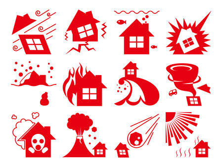 Disaster prevention icon red