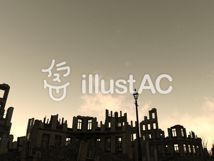 天空の廃墟の街のイラスト