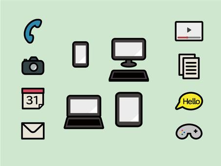 Pop smartphone and PC icon set