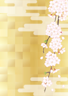 Weeping cherry tree _ gilt checkered _ vertical