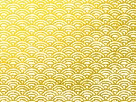 Background material print style Qinghai wave gold