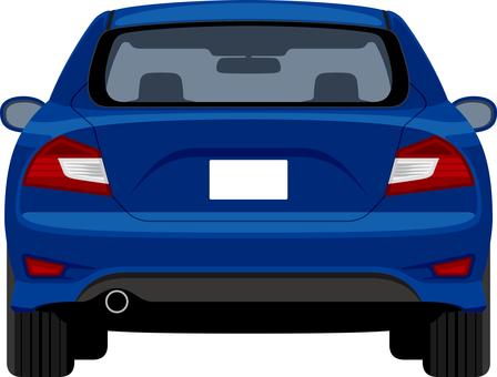 在藍色後的汽車背面圖